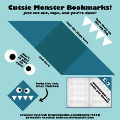 Image Detail for - Make Cute Monster Bookmarks by ~indirox on deviantART