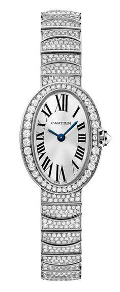Cartier HPI00327 Baignoire Mini Quartz - швейцарские женские часы наручные, золотые с бриллиантами, белые
