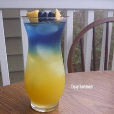 PINEBERRY SPLASHER Yellow Layer: 1 oz Pineapple Rum 4 oz Pineapple Juice  Blue Layer: 1 oz Blueberry Rum 1 Squirt Crystal Light Blueberry Raspberry Liquid 2 oz Water  Garnish with Pineapple chunks and Blueberries.