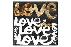 Oliver Gal 'Four Letter Word Gold' Typography Wall Art - White and Gold Love Typography Love Text Art with Black Background Modern Contemporary Canvas Art Print, inch, Size: 43 x 43 Typography Love, Lettering, Canvas Art Prints, Canvas Wall Art, Quote Canvas, Quote Wall, Islamic Quotes, Painting Frames, Painting Prints