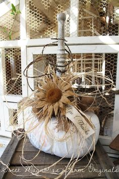 Sweet Magnolias Farm Originals Farmhouse Feed Sack Pumpkin - Fall Autumn Thanksgiving Decoration - x-large size 37 inch circumference (around) SOLD to a Good Home !