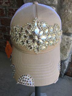 407dd7c66ad Women s Trucker Hat. Bling. Baseball Hat. Women s Hat. Rhinestone appliqué.  Swarovski. hat.Khaki. Tan. snap back.rhinestone. cap