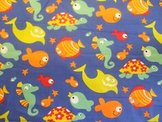 TURTLE AND FISH 100% COTTON  CHILDRENS PRINT FABRIC