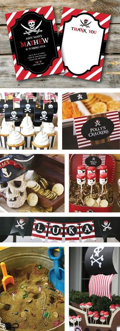 Pirate Birthday Party, Invitation, Thank you Card, Cupcake Toppers, Water Bottle Wraps, Centerpieces, Decoration, Birthday Banner, Labels, Favor Tags and so much more!