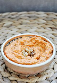 Loved this muhammara recipe. Its a roasted bell pepper walnut spread. You have to be very careful with the walnuts you use. Check them twice, or even triple check for any bits of hard parts. You dont want to ruin your teeth, dont you?