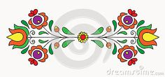Illustration about Symmetrical motif inspired by Hungarian folk art. Illustration of bloom, love, ornamental - 37345889 Chain Stitch Embroidery, Learn Embroidery, Modern Embroidery, Embroidery For Beginners, Embroidery Techniques, Embroidery Stitches, Embroidery Patterns, Hand Embroidery, Floral Embroidery