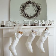 Use painted wooden letters to spell out a festive greeting, like 'Let it snow' or perhaps the more obvious 'Noel' or 'Merry Christmas'.