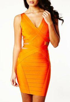 2013 new orange bandage dress wholesale Red front