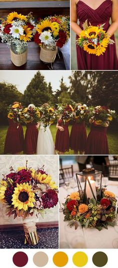 Dark red and sunflower fall wedding ideas Minus the burlap!!!