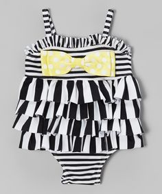 So stinkin' cute. Black & White Stripe Ruffle One-Piece - Infant, Toddler & Girls swimsuit