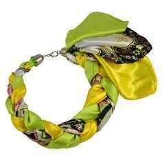 Šátek-náhrdelník Florina 299flo002-51.10 - zelenožlutý - Bijoux Me! 💍 Originální česká bižuterie a šperky. Eshop i kamenná prodejna v Praze ✓