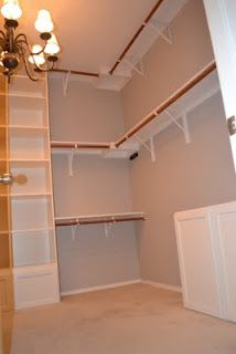 Master Bedroom Closet - top shelf/ bar would have to be lower for my shortness!