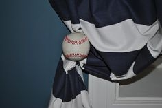DIY Baseball Curtain Rod and Baseball Tieback