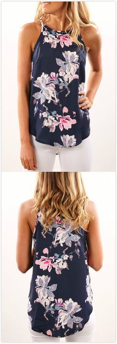 Navy Rancom Floral Print Round Neck Cami add cardigan like the front of it, cover up most likely of the chest, modesty looks. Mode Outfits, Casual Outfits, Fashion Outfits, Womens Fashion, Fashion Trends, Fashion Ideas, Chemises Country, Vetements Clothing, Latest Summer Fashion