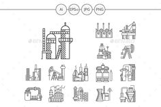 Download Free Graphicriver Industrial plants and factories flat outline vector icons #architecture #building #business #chemical #chimney #coal #construction #engineering #environment #factory #fuel #icon #industrial #iron #line #machine #manufacture #metal #oil #pipe #pipeline #plant #pollution #power #production #refinery #station #structure #technology #web