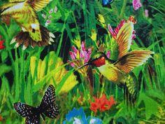 """Stunning """"HUMMINGBIRD GARDEN"""" Handmade Cotton Pillowcase Standard/Queen #Handmade #Spring"""
