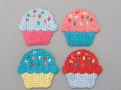 Crochet Cupcake Appliques...i have to make these cupcakes!!