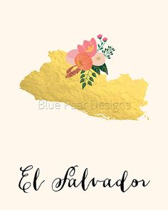 El Salvador Map El Salvador Art El Salvador by WhitespaceAndDaisy