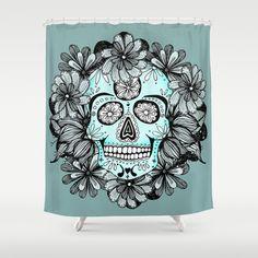 Blue Sugar Shower Curtain by Anchobee - $68.00 #shower curtain # gray #sugarskull #skull #blue #handdrawn