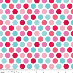 """""""Blue Pink Spot"""" Lovey Dovey Spotty Fabric by Riley Blake"""