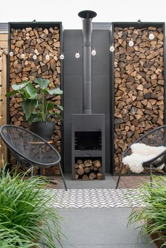 Outdoor seating with wood burning fireplace More