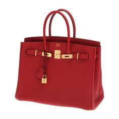 Hermes 35cm Rouge Garrance Togo Leather Birkin Bag with | Lot #56181 |... liked on Polyvore #handbags# #women bags# #hermes bags#
