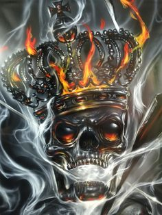 Airbrushed Crowned Skull - Custom Paint Job by Mike Lavallee of Killer Paint - www.killerpaint.com