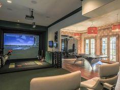 21 Best Home Gym Ideas - Basement Gym Lighting - Home Golf Simulator, Indoor Golf Simulator, Man Cave With Golf Simulator, Basement Gym, Modern Basement, Basement Ideas, Basement Walls, Basement Remodeling, Basement Inspiration