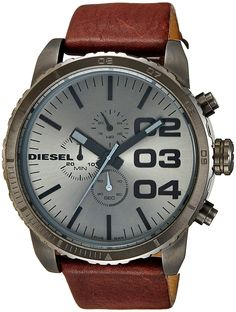 Amazon.com: Diesel Men's DZ4210 Advanced Gunmetal-Tone Stainless Steel Watch with Brown Leather Band: Diesel: Clothing