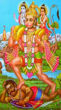 Hanuman Carrying Ram and Lakshmana on His Shoulder (Metal Frame) Shiva Hindu, Hindu Deities, Hindu Art, Jay Shri Ram, King Ravana, Hanuman Chalisa, Hanuman Wallpaper, Indian Language, Radha Krishna Pictures