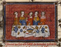 Lancelot du Lac (Belgique, Hainaut, XIVe siècle), Paris, Bibliothèque Nationale, Fr.122, f°83v, « Gauvain à la table des six hommes ». DOSSIER ICONOGRAPHIQUE.