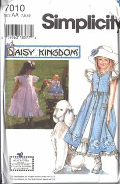 Simplicity Vintage Sewing Pattern: Daisy Kingdom Dress With Pinafore 7010