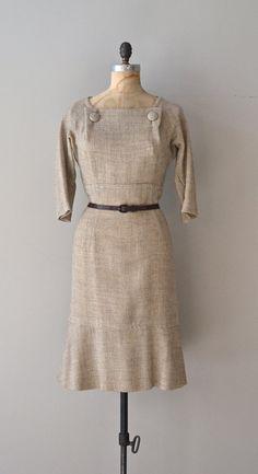 Emmer Wheat dress / vintage 1950s dress / raw linen by DearGolden