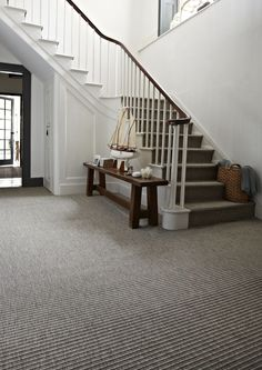 Hard wearing carpet for hall & stairs Hallway Carpet, Carpet Stairs, Bedroom Carpet, Stairway Carpet, Grey Carpet Living Room, Hard Wearing Carpet, Stair Landing, Hallway Decorating, Decorating Ideas