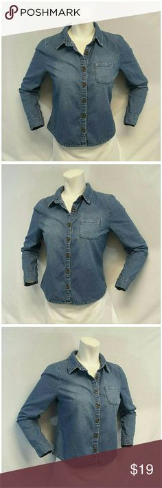 """I LOVE H81 FOREVER 21 Light Denim Top size Medium I LOVE H81 for FOREVER 21, Lightweight Denim Top, size Medium See Measurements, single button sleeve cuffs, machine washable, 100% cotton, approximate measurements: 11 1/2"""" length shoulder to hem, 17 1/2"""" bust laying flat, 24"""" sleeves, 14 1/2"""" width shoulder seam to shoulder seam. ADD TO A BUNDLE!  20% BUNDLE DISCOUNT Forever 21 Tops"""
