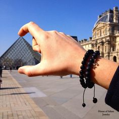 Artday at House of Adam! Today we visited the famous Louvre in #paris #menjewelry #jewelry  Our Signature 1 #Shamballa #mensbracelet is handmade in Stuttgart/ Germany. It is made of Black faced and polished Onyx with our new gold plated, solid sterlingsilver logo tag.