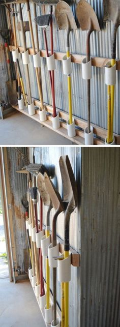 Storage of PVC pipe tools Simple organizational ideas for home DIY garden… - Diyprojectsgardens.club - Storage of PVC pipe tools Simple organizational ideas for home DIY garden … - Garden Tool Storage, Shed Storage, Garden Tools, Diy Storage, Storage Hacks, Storage Solutions, Laundry Storage, Pvc Pipe Storage, Outdoor Storage