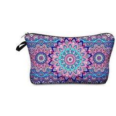 Cosmetic bag Mandala-AQUALUZZA - pretty colorful makeup back to store your makeup tools and colors. #makeupbag