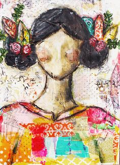 She was Peace: Mixed Media Original Canvas by Christy Tomlinson