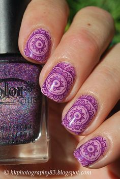 Flower lace stamping nail art #lavender #purple #hkphotography83 #nailart - bellashoot.com