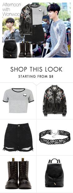 """""""Afternoon with Wonwoo"""" by theycallmebeatriz ❤ liked on Polyvore featuring WithChic, 3.1 Phillip Lim, Topshop, Dr. Martens, rag & bone, kpop, seventeen, wonwoo, JeonWonwoo and rapline"""