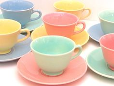 blue green tea cup set   Ray Pastels Tea Cups and Saucers in Pink, Yellow. Mint Green, and Blue ...
