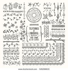 Hand drawn textures and brushes. Creative collection of vector design elements: winter holiday symbols, geometric tribal textures, cute patterns made with ink. Pattern brushes are included in EPS file