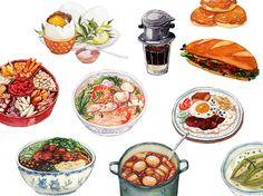 Art Design Illustration Doodles Behance 45 Ideas For 2019 Food Graphic Design, Art Design, Food Design, Vietnamese Recipes, Vietnamese Food, Food Sketch, Food Drawing, Best Dishes, Food Illustrations