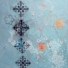 Flower Pattern | Encaustic on wood panel | by Kathleen Sandra Arostegui Marquis