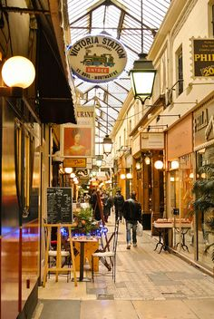 The Passage des Panoramas is a roofed commercial passageway located in the arrondissement of Paris between the Montmartre boulevard to the North and Saint-Marc street to the south. Oh Paris, I Love Paris, Paris Travel, France Travel, Places Around The World, Around The Worlds, Image Paris, Paris Ville, Most Beautiful Cities