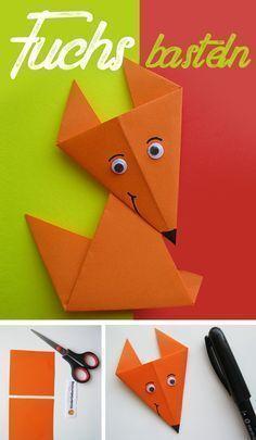 Tinker fox: Instructions for origami fox- Fuchs basteln: Anleitung für Origami Fuchs Fold DIY fox out of paper. Instructions for origami animal. Handicrafts with children. Dragon Origami, Origami Fox, Design Origami, Origami Star Box, Kids Origami, Art Origami, Origami Stars, Origami Envelope, Origami Simple