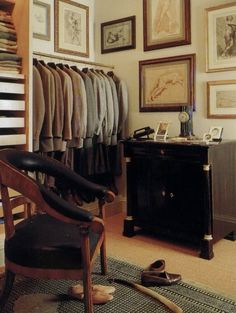 The very patrician dressing room of Bill Blass at his country house. The sepia drawings, his empire dressing table, the tweedy musk of those endless sport coats and then theres that mile-long boot horn lying on the floor. Master Closet, Closet Bedroom, Closet Space, Master Suite, Dressing Room Closet, Dressing Area, Dressing Tables, Men Closet, Closet Office