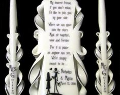 Nightmare Before Christmas Wedding Unity Candle Set. 100% Custom Made, Your  COLORS,