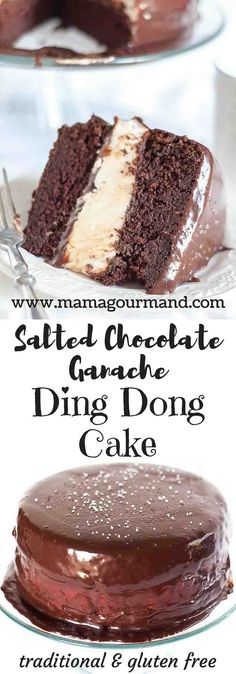 A super sized Ding Dong Cake at it's best! Salted Chocolate Ganache Ding Dong Cake has moist chocolate cake, light and fluffy filling, and salted ganache. http://www.mamagourmand.com via @mamagourmand